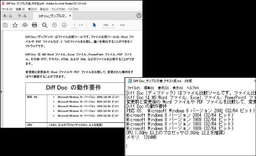 PDFファイルとテキストファイルの比較